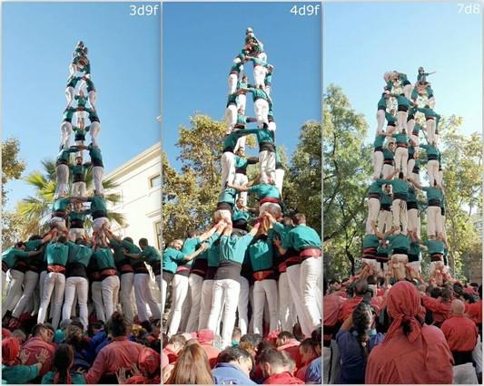 Los Castellers de Sabadell celebran en Barcelona la mejor actuación de su historia.