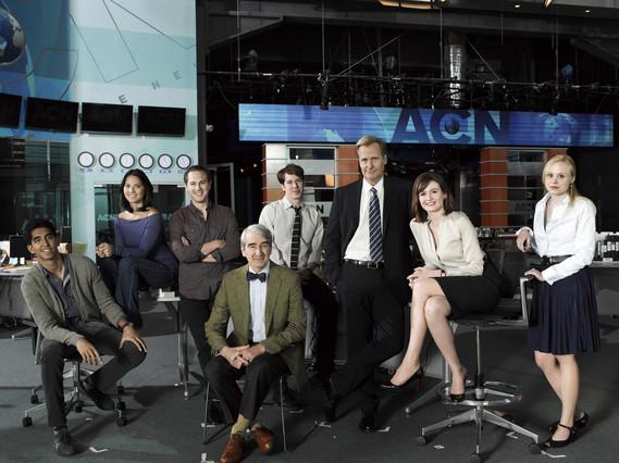 Los protagonistas de la serie The Newsroom, encabezados por Jeff Daniels.