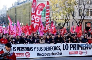 Manifestación de CCOO y UGT en Madrid, el pasado domingo.