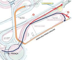Mapa de los cambios de circulación en la salida Mataró Oeste de la C-32.