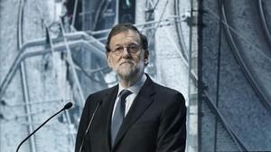 Mariano Rajoy, el pasado 28 de marzo, durante su intervención en la inauguración de una jornada sobre infraestructuras en Barcelona.
