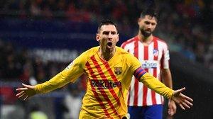 Messi celebra su decisivo gol en el Wanda.
