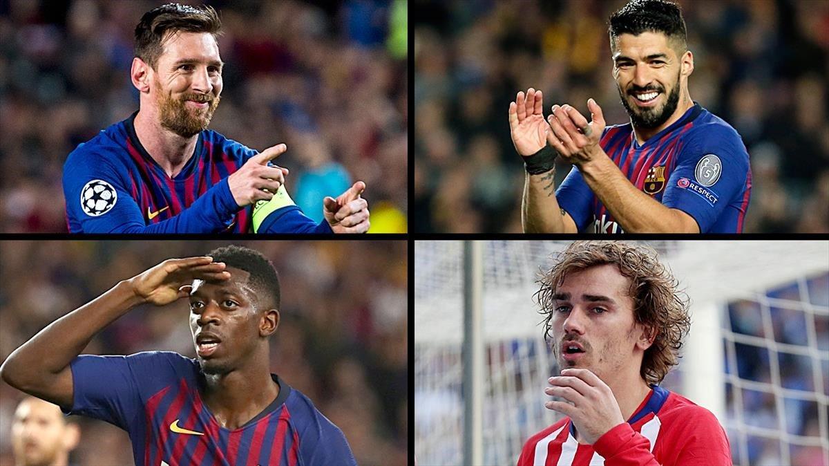 Messi, Suárez, Dembélé y Griezmann, la segunda fórmula de los cuatro fantásticos, en el 2019.