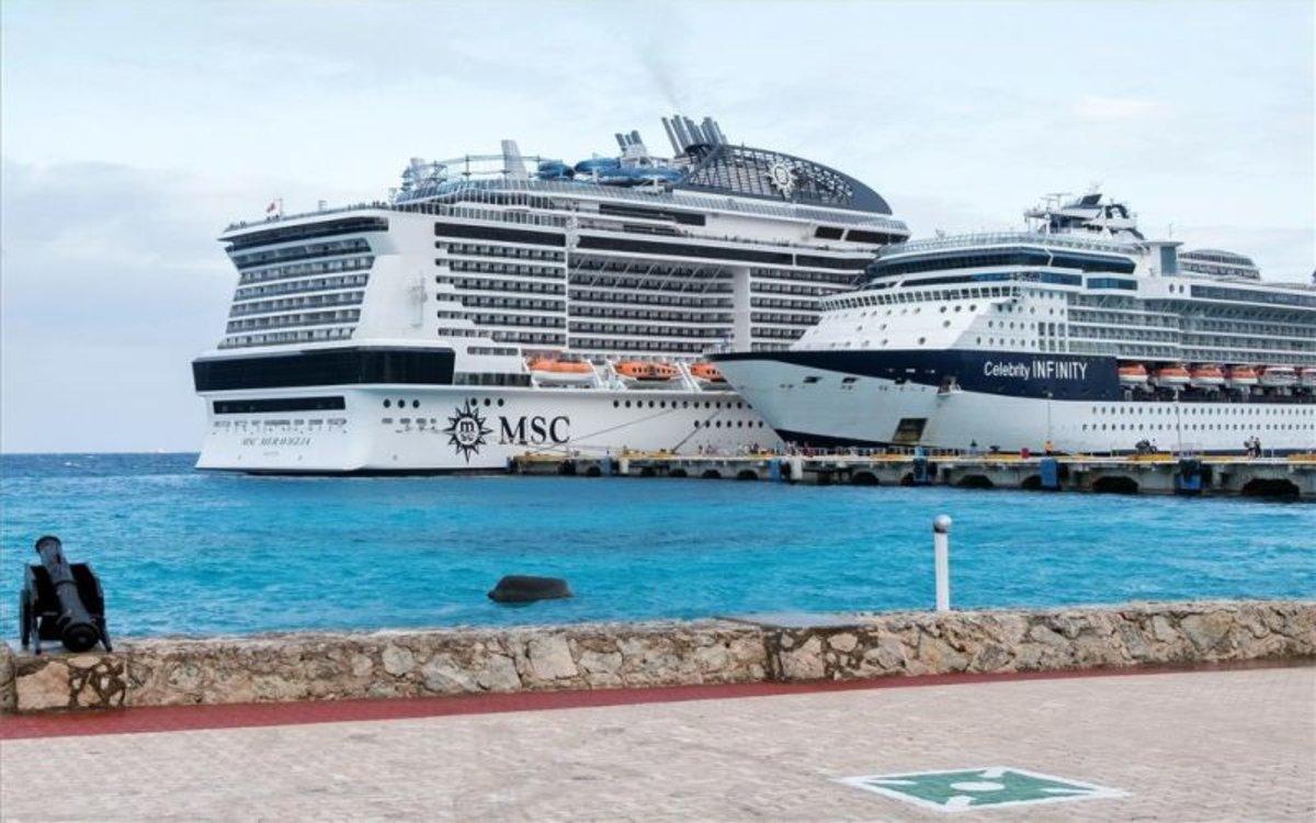 El crucero Meraviglia en Cozumel, México.
