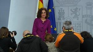 La ministra Portavoz del Gobierno, María Jesús Montero, tras la reunión del Consejo de Ministros