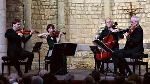 Un momento de la actuación del Quartet Casals en la Schubertiada de Vilabertran.