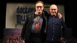 Neo Sala y su coordinador de operaciones, Jordi Mora, tras anunciar el traslado del Doctor Music Festival a Montmeló
