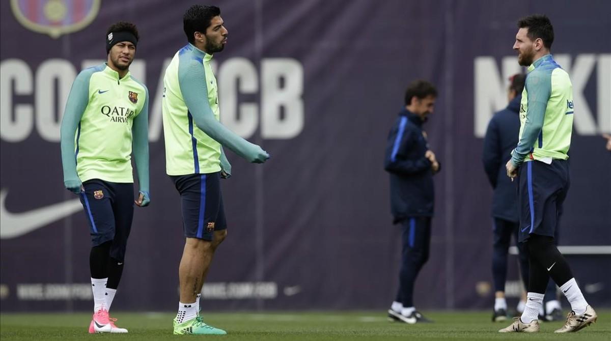 Neymar, Suárez y Messi, en un entrenamiento del Barcelona en la ciudad deportiva de Sant Joan Despí.
