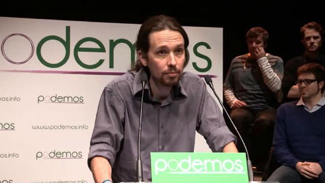El politólogo durante la presentación de la plataforma Podemos en el Teatro del Barrio de Lavapiés, en Madrid.