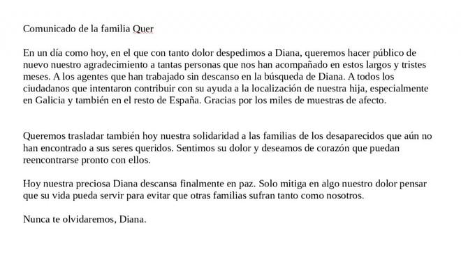 Los padres de Diana Quer han hecho público un comunicado coincidiendo con el día en que su hija recibe sepultura.