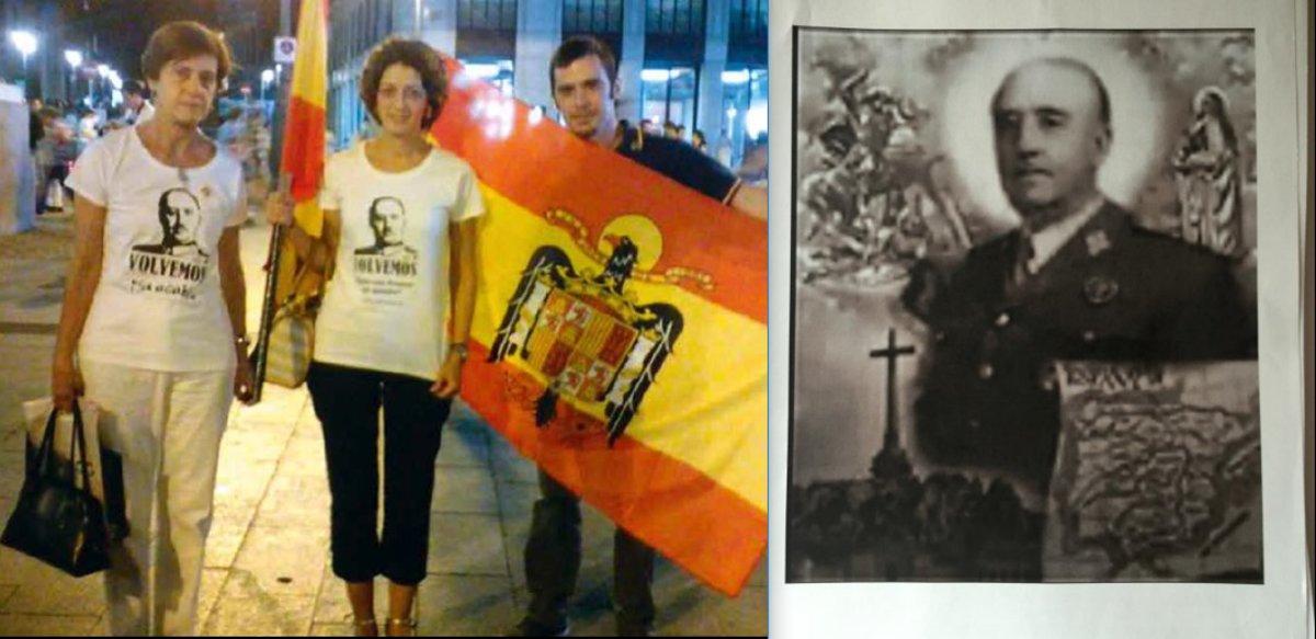 Pilar Gutiérrez, primera por la izquierda, en una manifestación franquista en Madrid en 2015. A la derecha, la estampita o logotipo con que ilustran los testimonios que recoge la postulación en favor de la canonización de Franco.