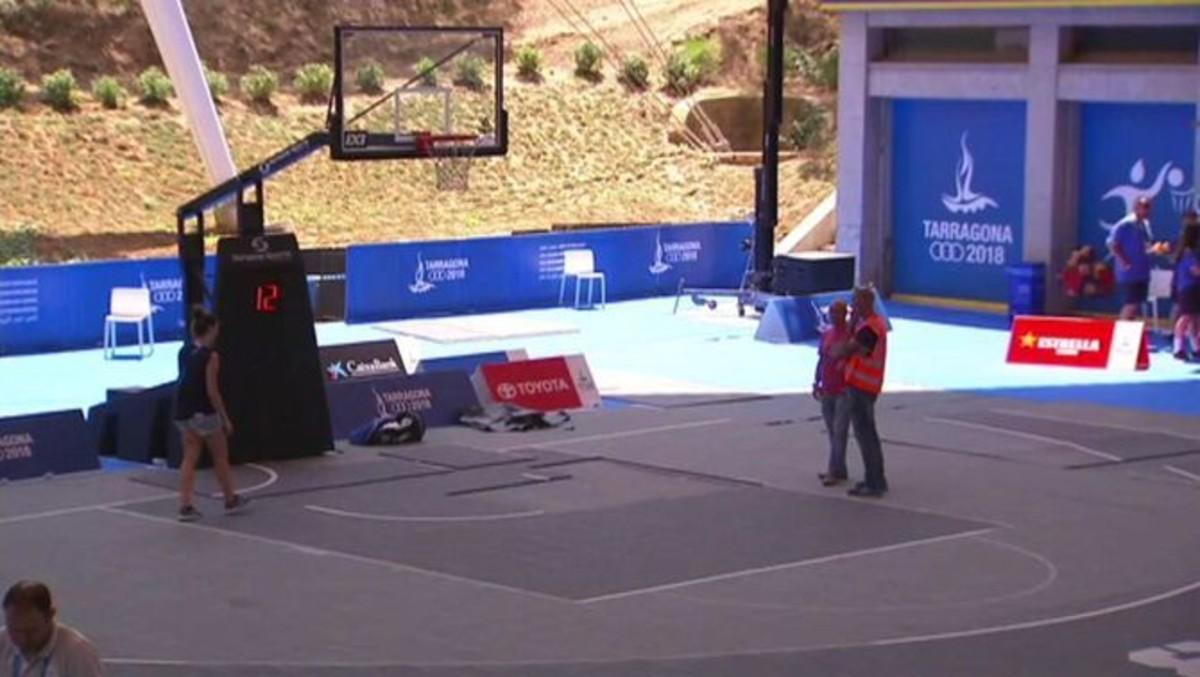 Pista de baloncesto de la competición 3x3 masculina de los Juegos del Mediterráneo