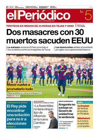 La portada de EL PERIÓDICO del 5 de agosto del 2019.