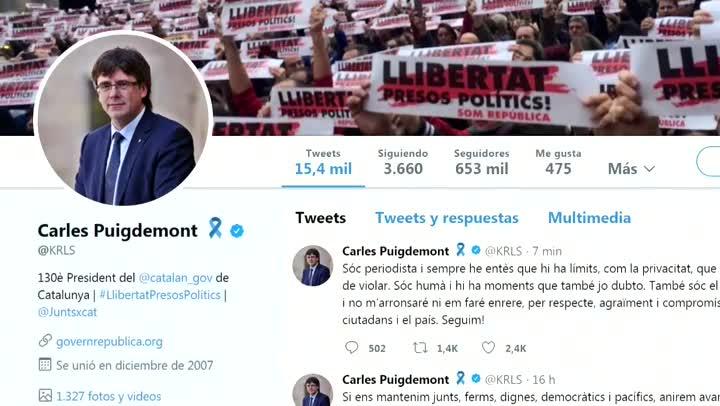 Carles Puigdemontsha referit des de Twitter als seus missatges a Antoni Comín difosos per Telecinco