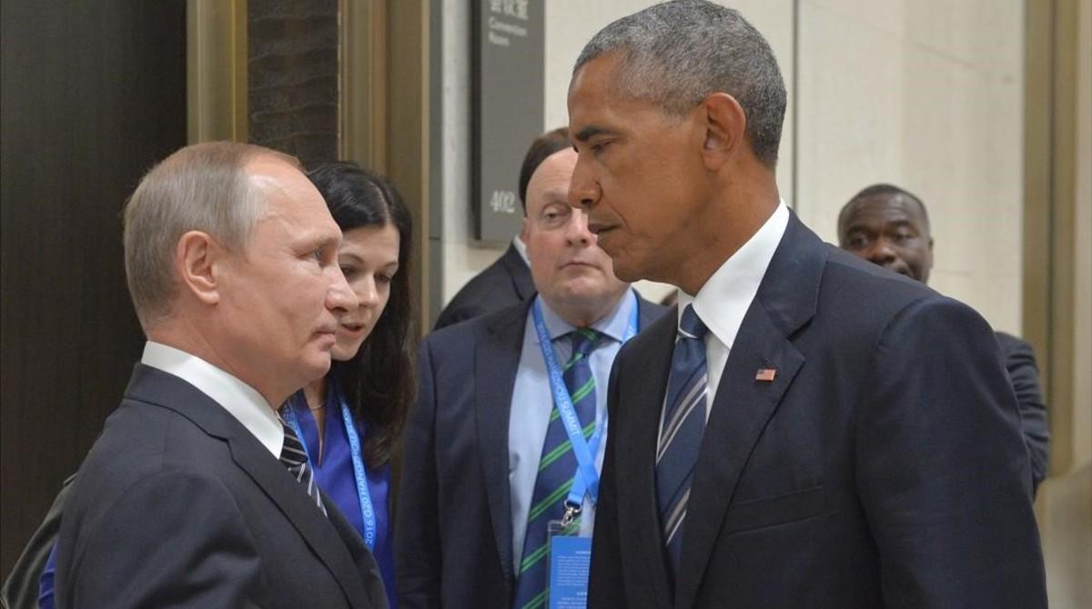 Putin y Obama, en un tenso encuentro en Hangzhou (China), el 5 de septiembre.