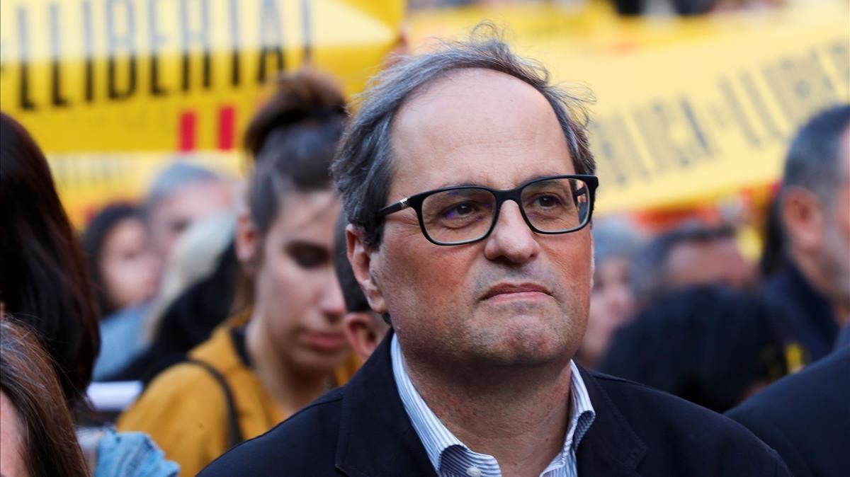 Quim Torra, en una concentración, el pasado 16 de mayo en la plaza de la Catedral de Barcelona.
