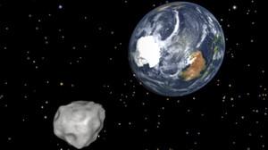 Recreación del acercamiento de un asteroide a la Tierra.