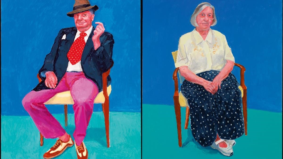 Retratos de Barry Humphries y Margaret Hockney, realizados por David Hockney, piezas de la exposición en el Guggenheim de Bilbao.