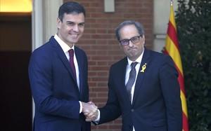 Reunión entre Pedro Sánchez y Quim Torra en la Moncloa.