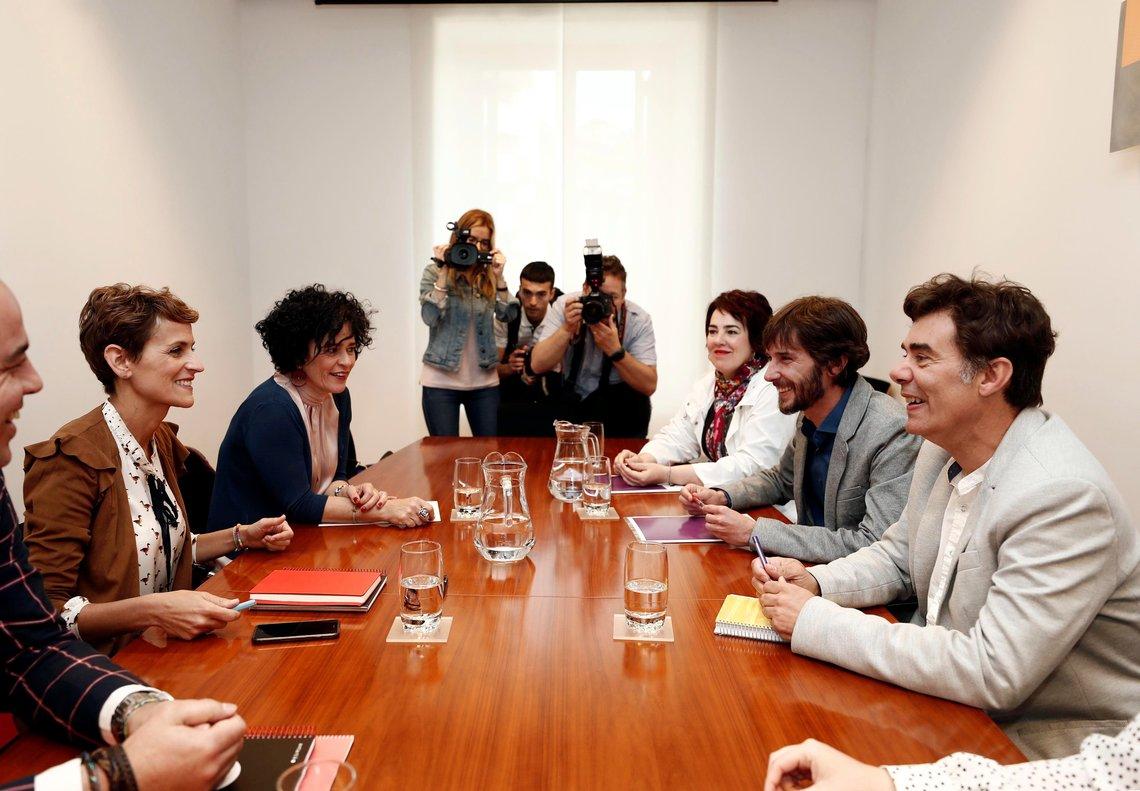 La secretaria general del PSN y candidata a la Presidencia, María Chivite, durante su ronda de contactos este jueves para tratar de formar gobierno.