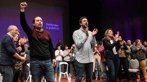 El líder de Podemos,Pablo Iglesias,la ministra de Trabajo,Yolanda Díazy el candidato de Galicia en Comun-Anova a la Xunta,AntónGomez-Reino.