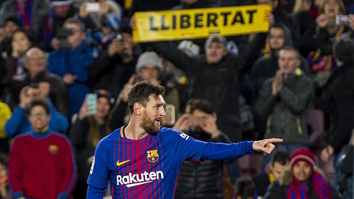 Messi, durante el partido de Copa ante el Celta en el Camp Nou (5-0), el 10 de enero del 2018.