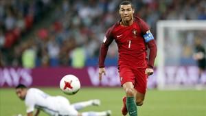 Cristiano Ronaldo, en un duelo ante Chile disputado en Kazán en la pasada Copa Confederaciones.