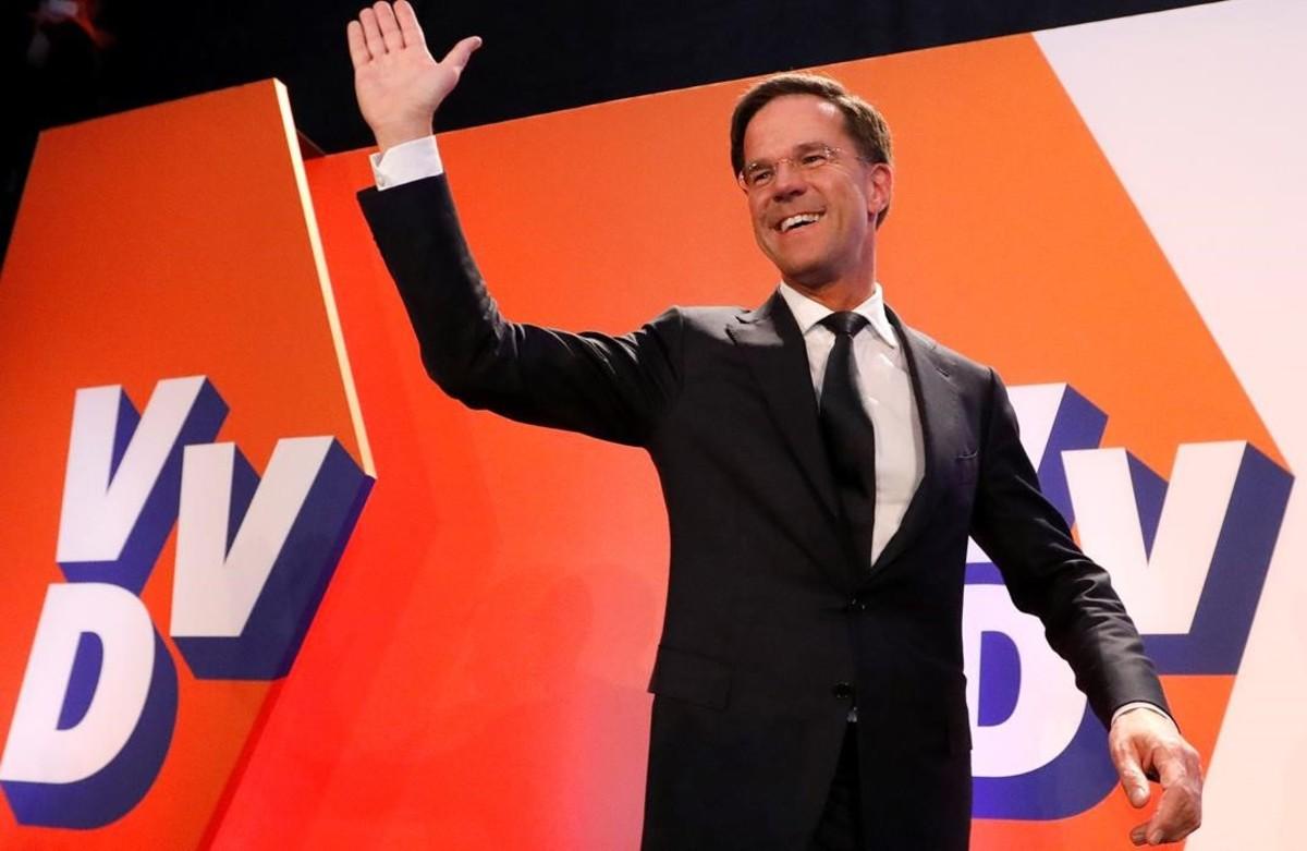 Rutte celebra la victoria.
