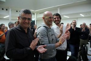Salvador Milà, Raül Romeva i Ernest Urtasun, aquest dissabte, al Consell Nacional extraordinari.