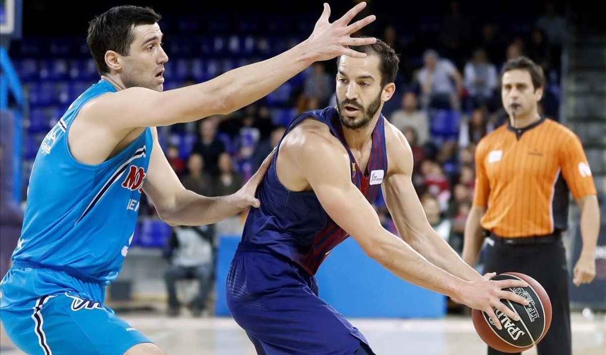 Sekulic defiende el ataque de Pau Ribas en el Barça-Fuenlabrada disputado en el Palau.