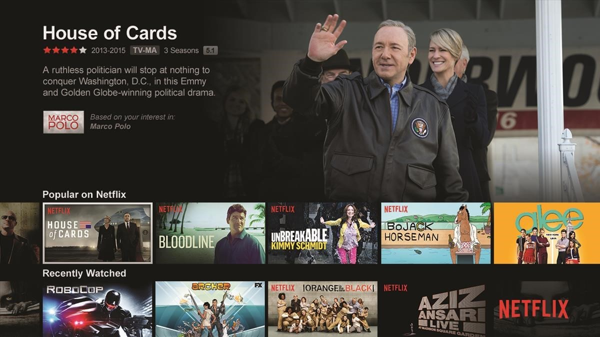 Captura de oferta audiovisual de la web de la plataforma de televisión Netflix en un televisor.