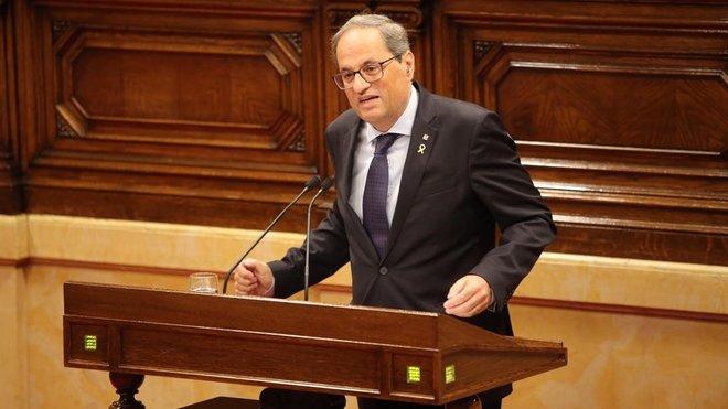 El President Quim Torra comparece en el Parlament.
