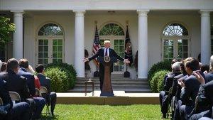 Trump en una conferencia de prensa este jueves en la Casa Blanca.