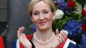Una imagen de J. K. Rowling en Edimburgo.