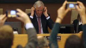 El representante de la UE en la negociación del 'brexit',Michel Barnier,durante su comparecencia ante la Comision Mixta para la UE del Congreso de los Diputados