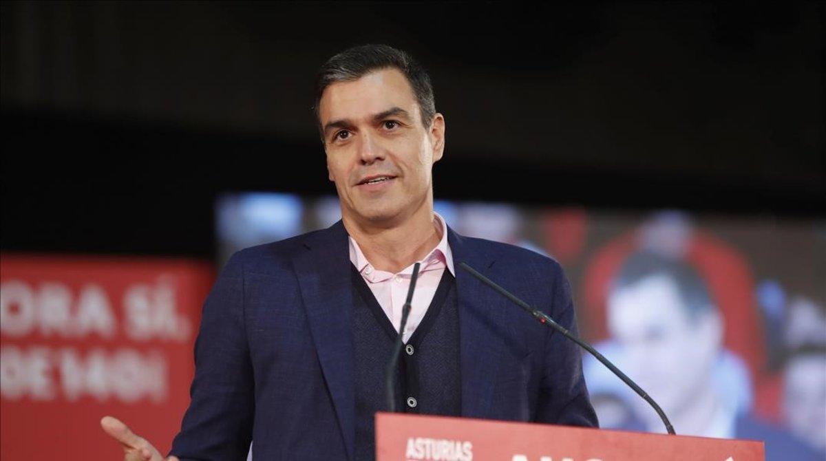 Pedro Sánchez, el pasado martes durante un mitin en Gijón.