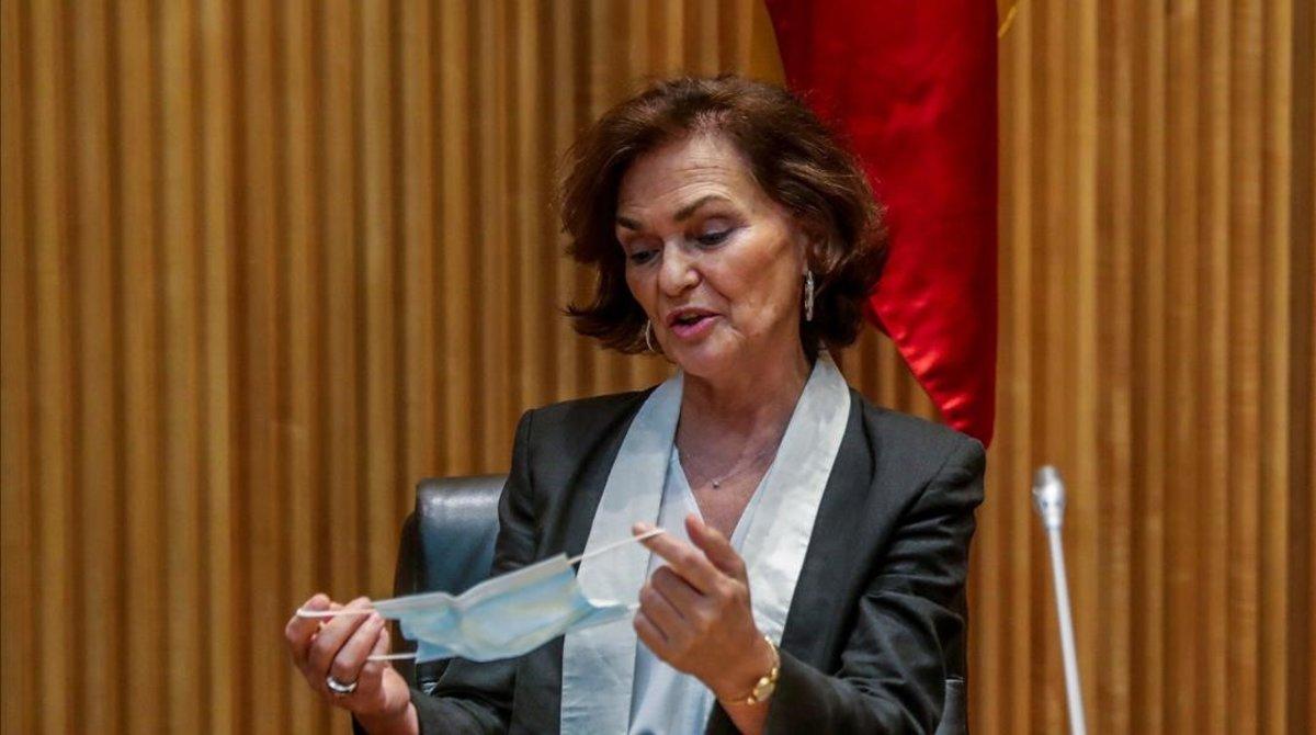 La vicepresidenta primera, Carmen Calvo, el martes en el Congreso.