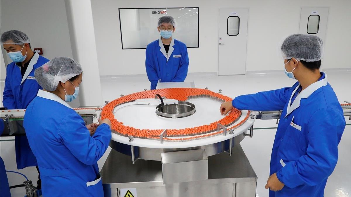 El laboratorio de la farmacéutica china Sinovac, este jueves.