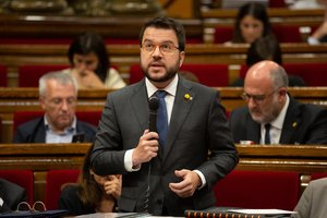 24/07/2019 El vicepresidente y consejero de Economía y Hacienda de la Generalitat, Pere Aragonés, interviene desde su escaño en una sesión del pleno del Parlament de Catalunya.