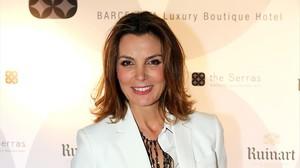 La modelo Mar Flores, madre de Carlo Constanzia, en la fiesta de inauguración del hotel The Serras en el 2015.