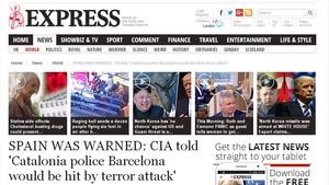 El diario británico Daily Express se hace eco de la exclusiva de EL PERIÓDICO sobre el aviso de la CIA a los Mossos.