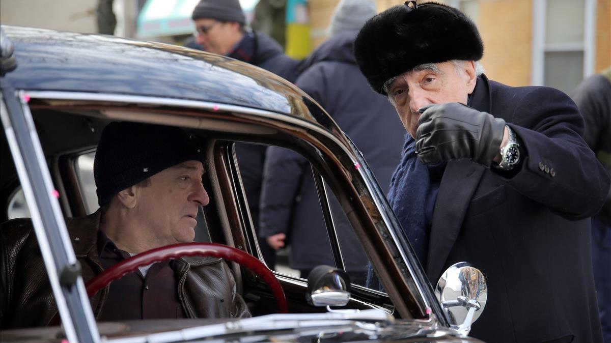 Robert de Niro y Martin Scorsese, durante el rodaje de la película de NetflixThe Irishman.