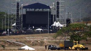 Preparativos del concierto Venezuela Aid Live en Tienditas, cerca de la frontera entre Venezuela y Colombia.