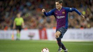 Coutinho durante el partido de liga entre el FC Barcelona y la Real Sociedad .