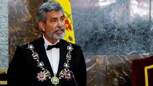 El presidente del CGPJ, Carlos Lesmes, en un momento de su discurso de apertura del curso judicial, el 7 de septiembre.