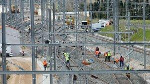 Imagen de archivo de las obras del TGV en Perpignan.