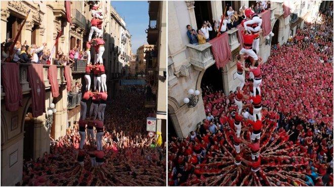 El 'tres de nou sense folre' de la Colla Vella de Valls y3 de 9 sense folre de la Colla Joves dels Xiquets de Valls en la diada de Santa Úrsula de Valls