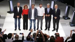 Los candidatos catalanes, en el plató momentos antes de iniciar el debate electoral de TV-3.