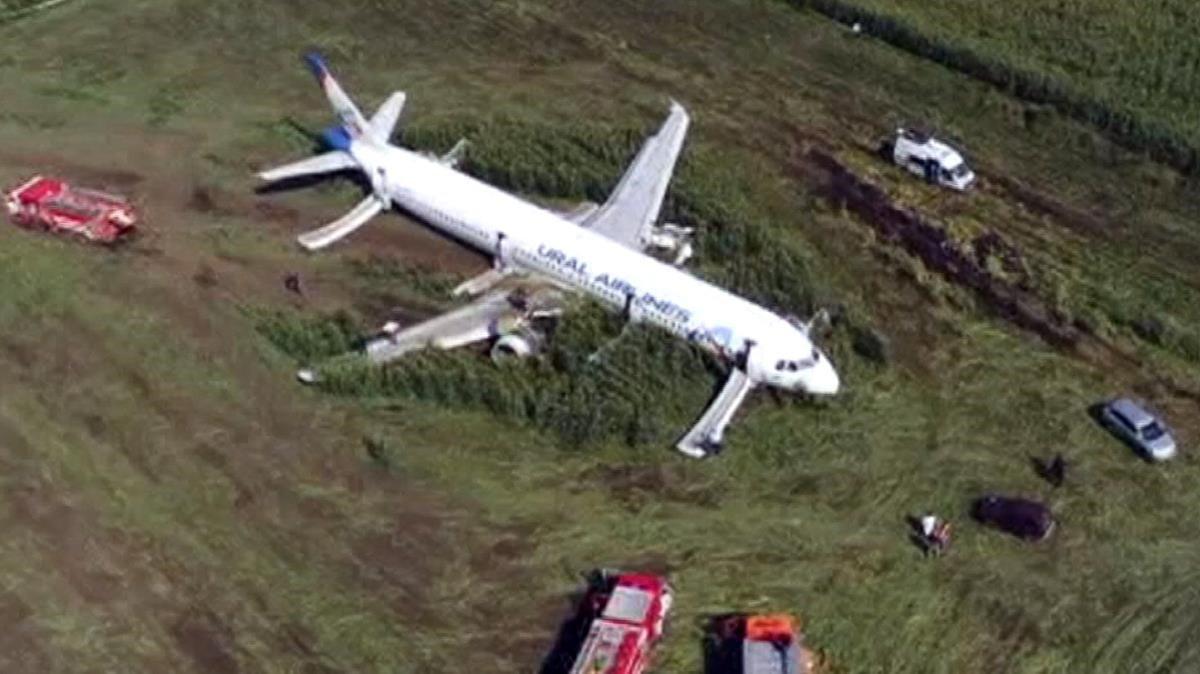 El Airbus, tras aterrizar en un maizal cerca de Moscú.