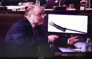 Àngel Colom, durante su declaración judicial por el caso Palau, este lunes, 10 de abril.